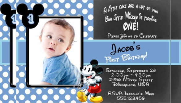 Personalised Mickey Mouse Boy Birthday Party Invitation With Custom Photograph