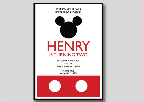 photograph relating to Free Printable Mickey Mouse Birthday Invitations known as 20+ Mickey Mouse Birthday Invitation Templates No cost Pattern