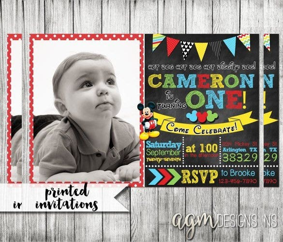 elegant and beatiful mickey mouse birthday invitation with photo