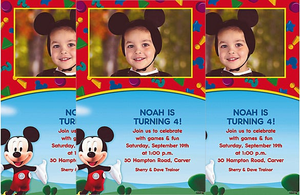 colourful custom mickey mouse clubhouse photo invitation