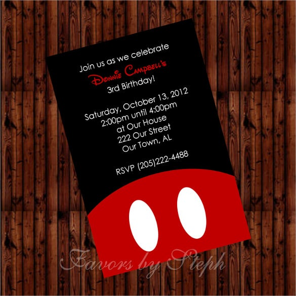 simple black and red digital mickey mouse birthday invitation