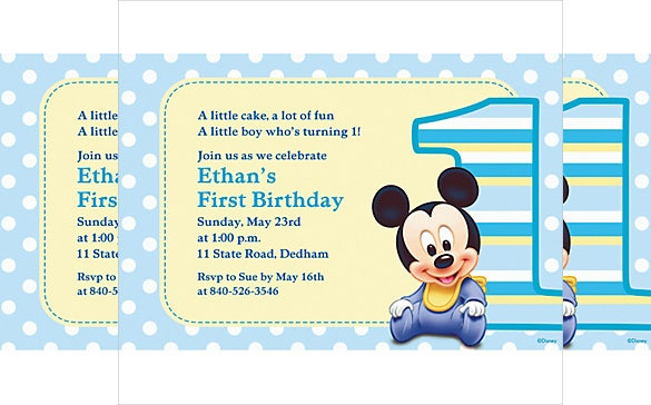 blue dotted custom mickey mouse birthday invitation