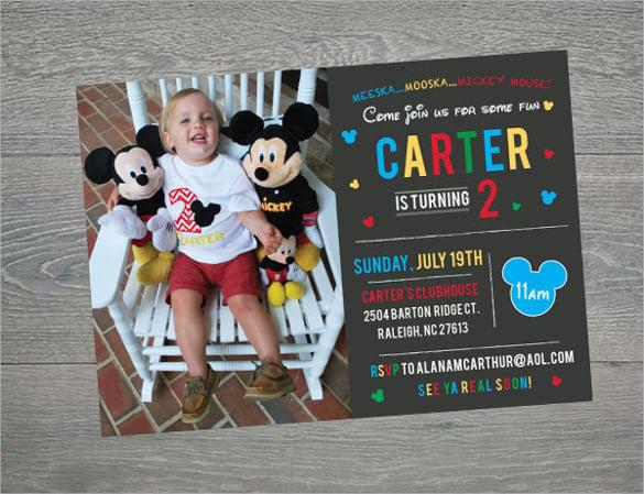 mickey mouse birthday invitation printable with custom photo