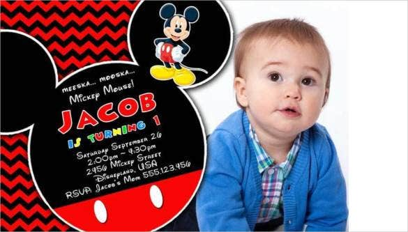 red and black mickey mouse photo birthday party invitation