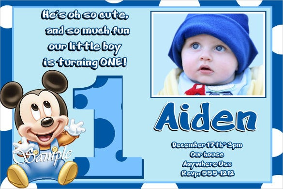 Blue Coloured Mickey Mouse Birthday Invitation