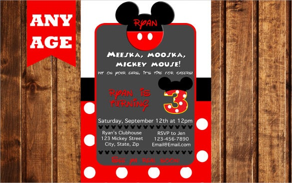polka dot red colour mickey mouse birthday invitation for any age