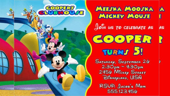 20 Mickey Mouse Birthday Invitation Templates Free Sample