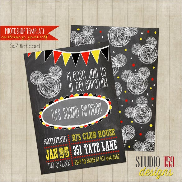 mickey mouse birthday invitation photoshop template