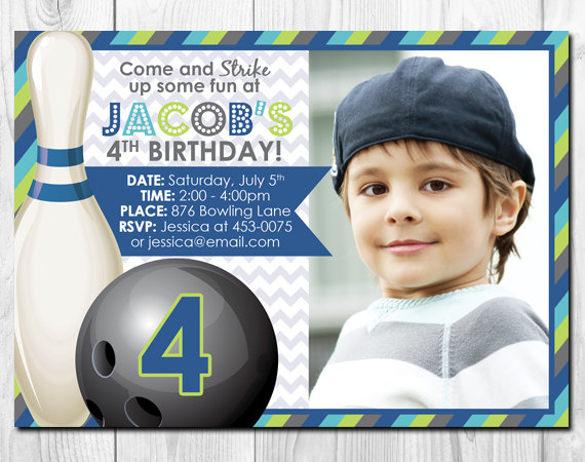 bowling boy personalized printable photo birthday invitation