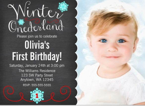 whimsical winter onederland photo red birthday paper invitation card