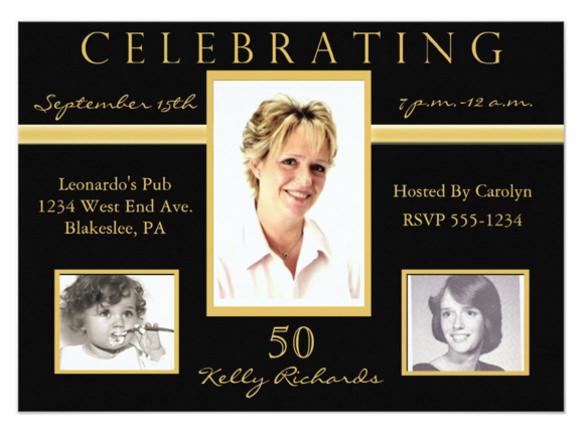 50th birthday party tri photo invitations