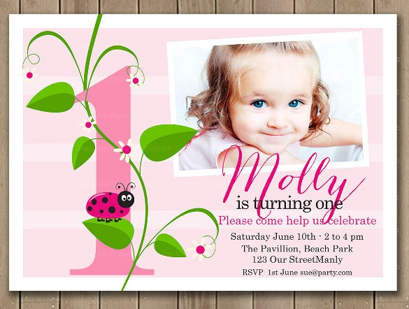 pink ladybird printable photo birthday invitations