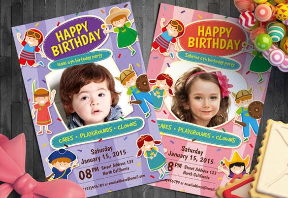 kid birthday photo invitation card