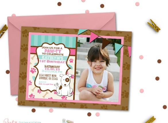 puppy birthday invitation dog birthday invitation