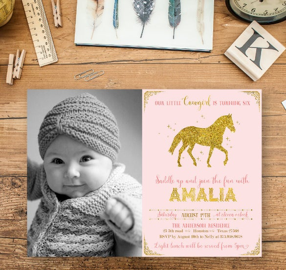 pink and gold baby girl photo birthday invitation