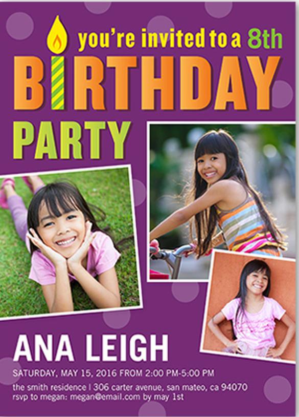 birthday girl birthday photo invitation