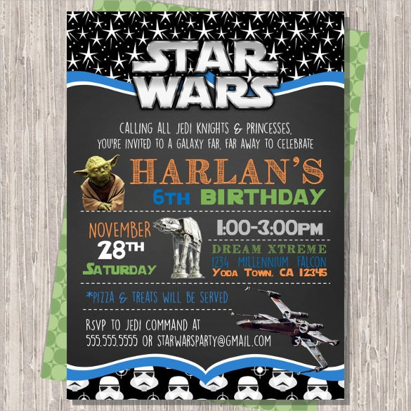 Chalkboard Style Stars Design Star Wars Birthday Invitation