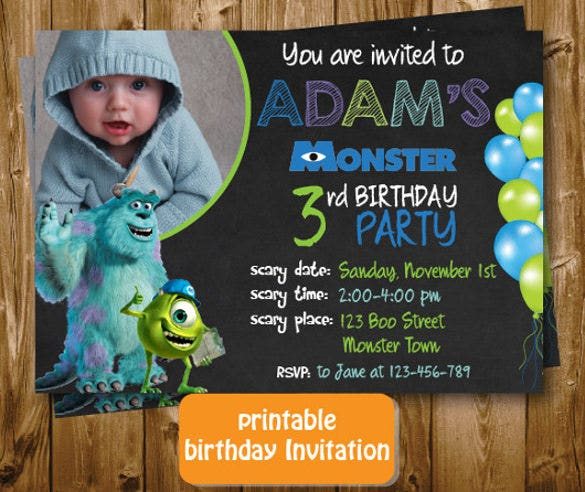 monsters birthday invitation chalkboard printable for boys