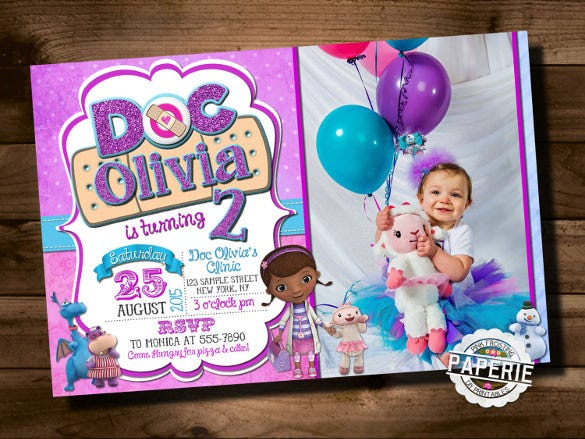 Doc McStuffins Photo Birthday Invitation