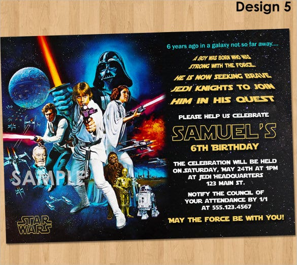 image about Star Wars Birthday Invitations Printable titled 20+ Star Wars Birthday Invitation Template - Term, PSD