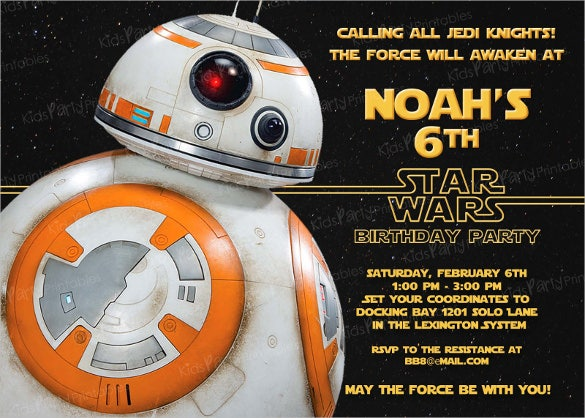 Black Coloured Star Wars Birthday Invitation Template
