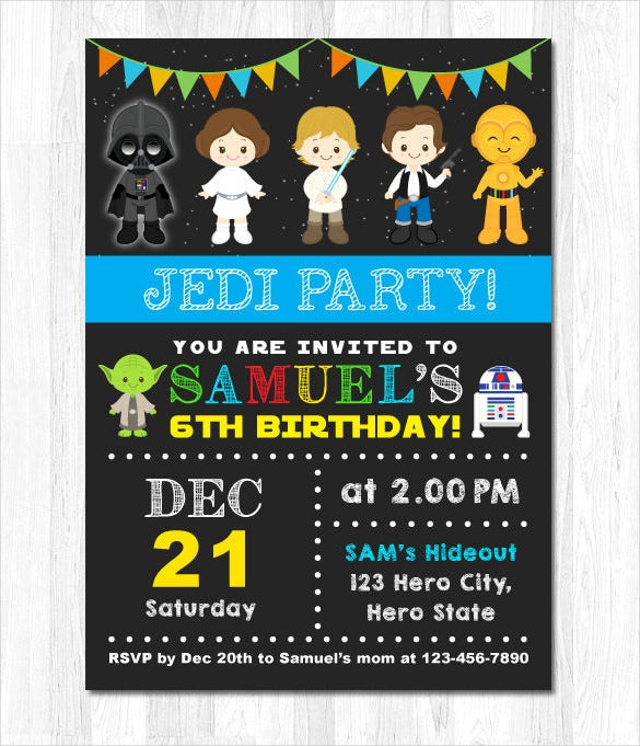 Cute Animated Star Wars Birthday Invitation