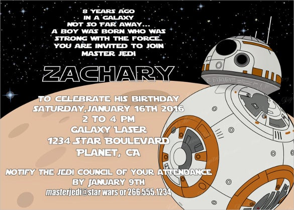 Printable Personalized Star War Birthday Invitation