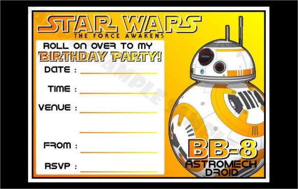 Yellow Coloured Bb 8 Star Wars Birthday Party Invitations