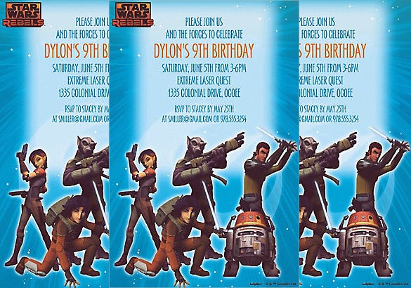 star wars rebels birthday invitation