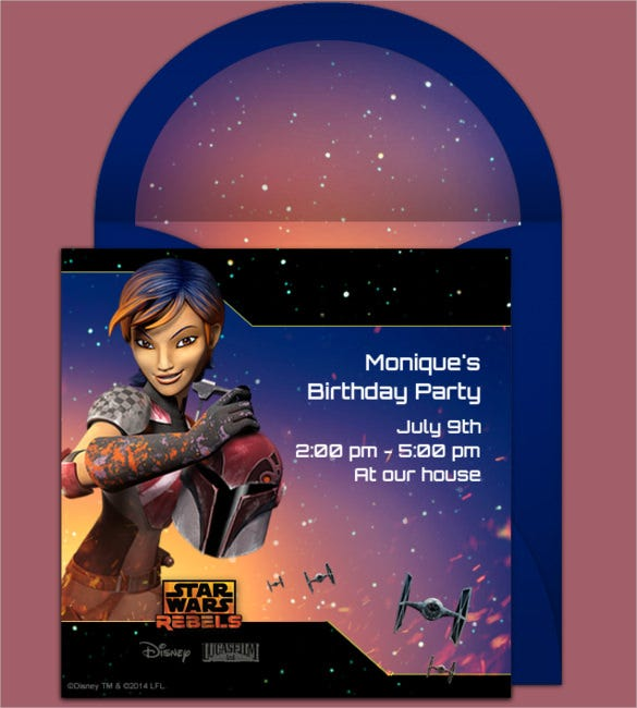star wars birthday invitation for girls