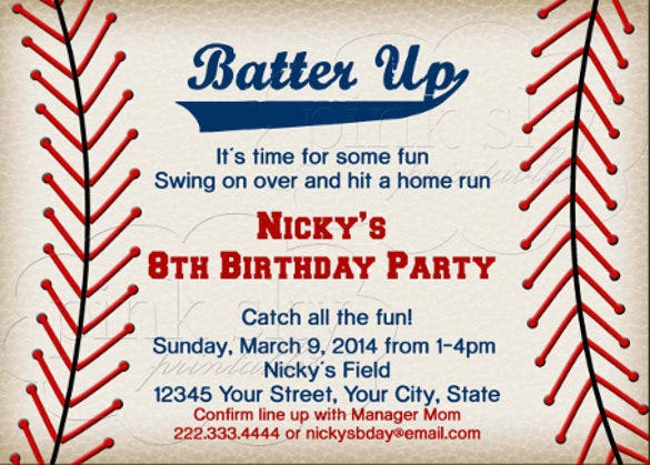 15 baseball birthday invitations psd vector eps ai for Baseball card template microsoft word
