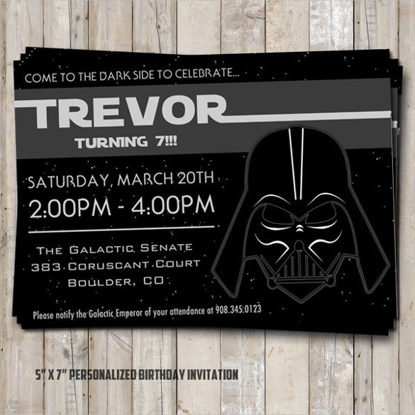 Dark Coloured Star Wars Birthday Invitation Template