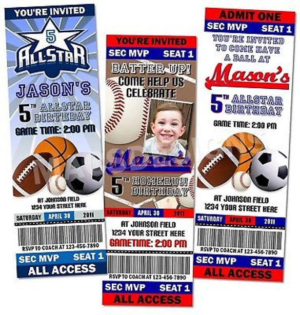 baseball football soccer 1st birthday party invitations