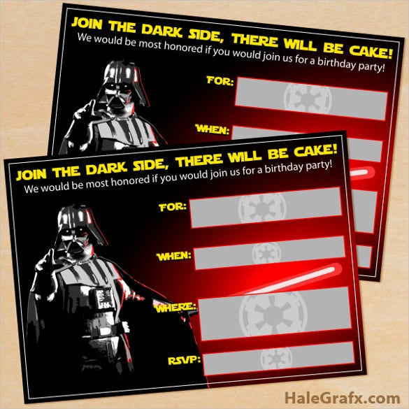 photo about Star Wars Birthday Invitations Printable referred to as 20+ Star Wars Birthday Invitation Template - Term, PSD