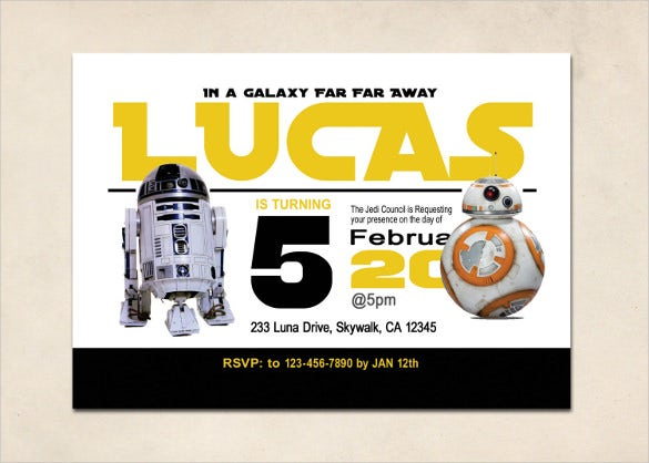 20+ Star Wars Birthday Invitation Templates – Free Sample, Example ...