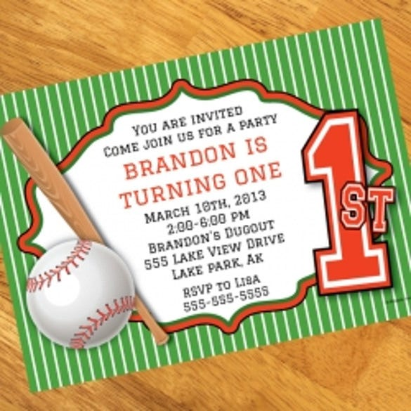 1st birthday baseball personalized invitations