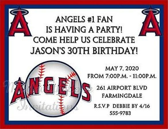 los angeles angels of anaheim baseball invitations birthday party any team1
