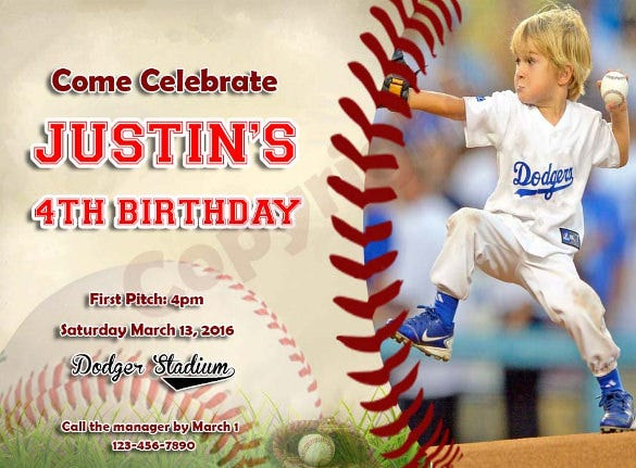 personalized baseball birthday party invitation