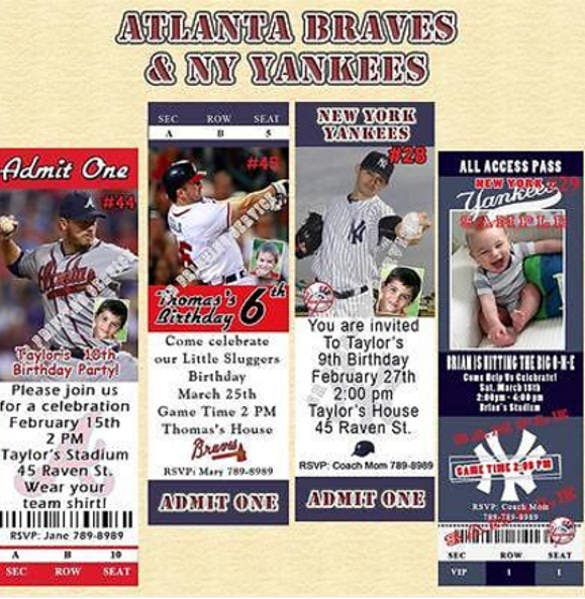 atlanta braves ny yankees personalized birthday invitation