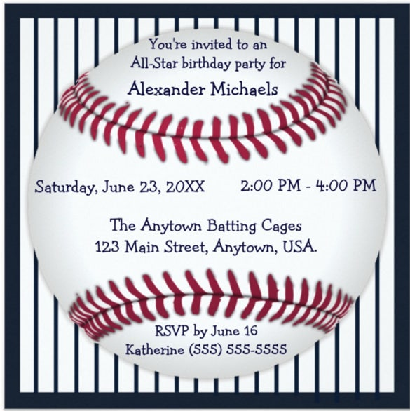 navy blue pinstripes baseball birthday party invitation