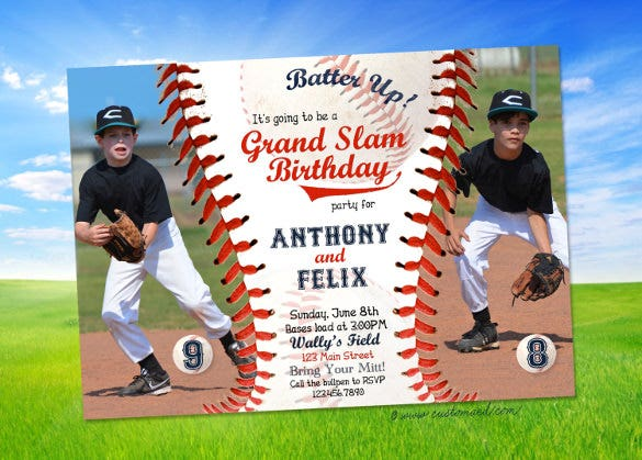 personalized baseball birthday invitation with two photos