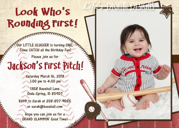 red baseball birthday party invitation