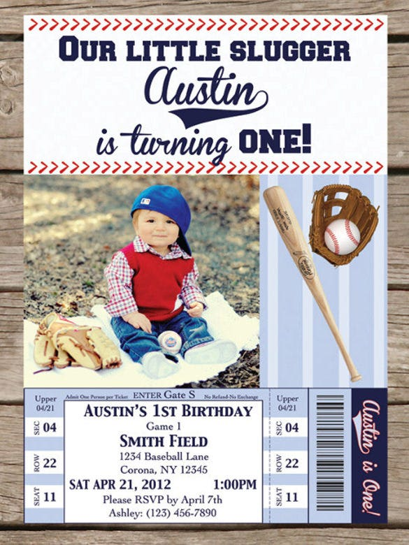 1st birthday baseball personalized invitation1