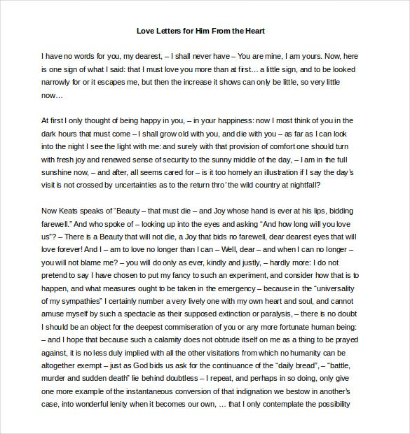 Love Letters For Him 25 Free Word PDF Documents Download Free