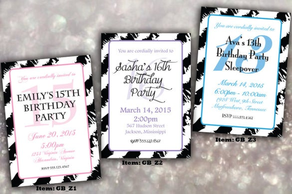 teenage girl zebra birthday party invitations