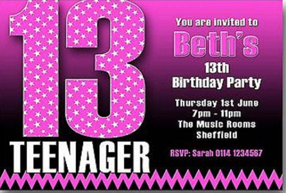 14 Teenage Birthday Invitations Free PSD Vector EPS AI – Thirteenth Birthday Invitations