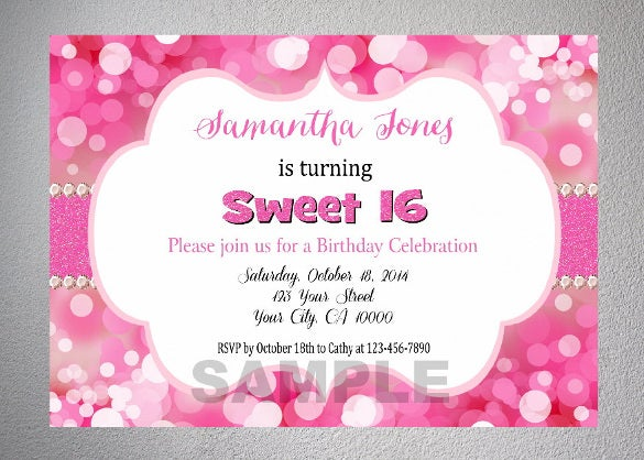 pink bokeh sparkle teenage girl birthday party invitation