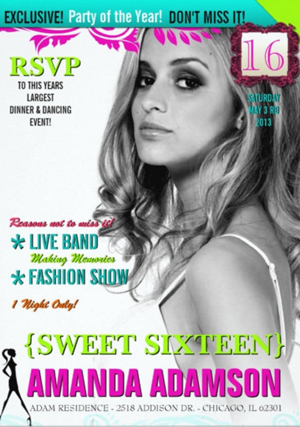 trendy sweet sixteen magazine cover invitations