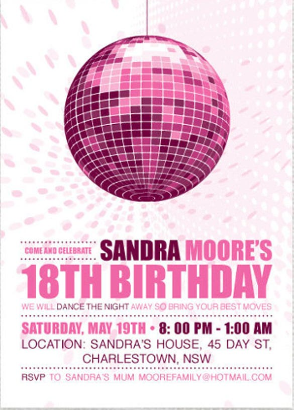 Disco Diva Teen Birthday Party Invitation