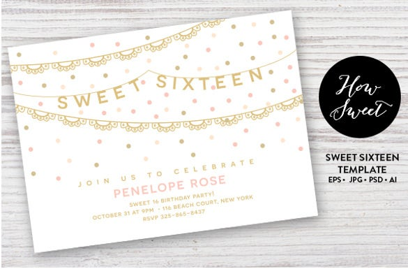 sweet sixteen birthday party card invitation